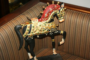 Antique-Metal-Decorated-Hand-Painted-Horse-Display-Statement-Decor-Statue-15-034