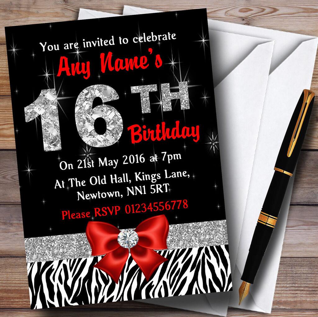 rosso Diamond e Zebra Print 16A 16A 16A Festa di Compleanno Inviti Personalizzati 6d023f