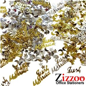 JUST-MARRIED-WEDDING-CONFETTI-GOLD-AND-SILVER-TABLE-DECORATION-OR-CARD-FILLER