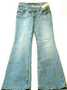 BB-Jeans-Juniors-Size-13-14-Bling-Rhinestones-Distressed-Flare-Leg-Stretch-Denim