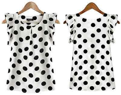 Fashion Women Casual Polka Dot Chiffon Blouse Short Sleeve Shirt Blouse Tops