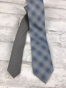 Neiman Marcus Men's Blue Gray Geometric 100% Silk Neck Tie Skinny 2.5x60""