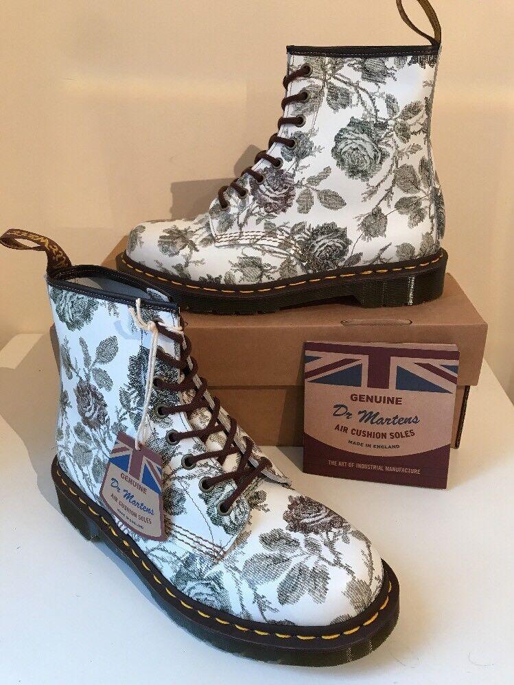 Bnib  Dr.Martens 1460 Grau Tapestry Floral Leder In Stiefel Sz UK8 Made In Leder England f305f5