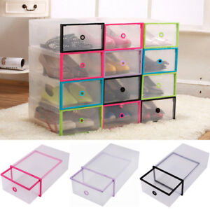 Image Is Loading Foldable Clear Plastic Drawer Case Shoe Storage Stackable