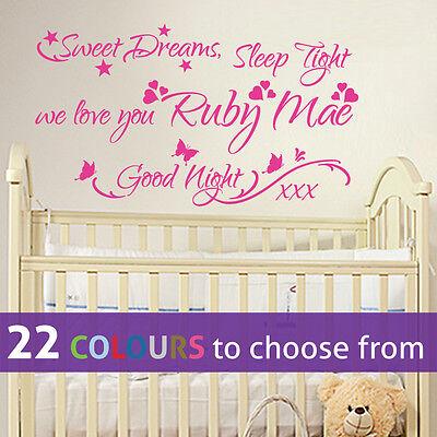 Wall Stickers Sweet Dreams Sleep Tight Love Nursery Night Art Decal Vinyl Room