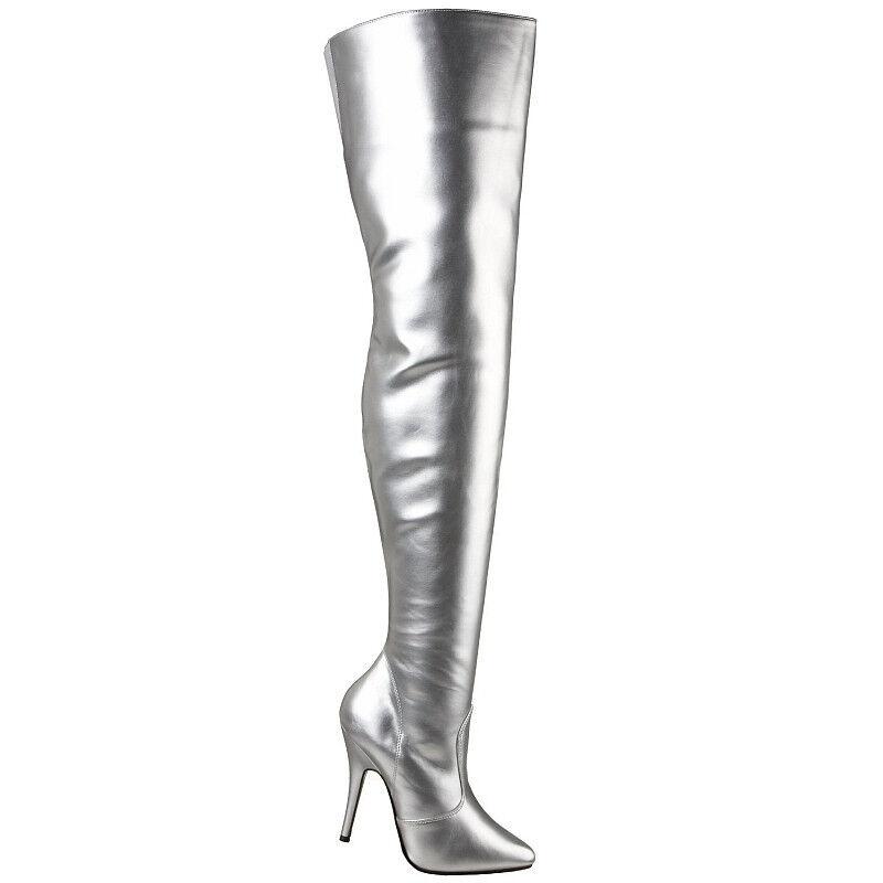 High Heels Overkneestiefel Silber Größe 41