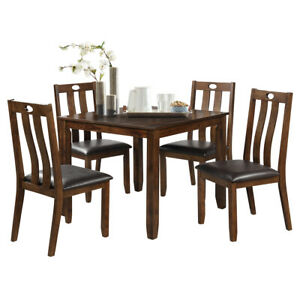 5 Piece Wood Dining Table Set Square Table With 4 Upholstered Seat Chairs Ebay