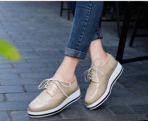 Women Platform Shoes Woman Brogue Patent Leather Flats Lace Up Oxford Shoes