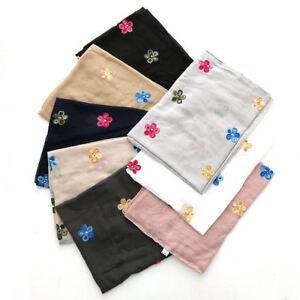 Womens embroidered flower soft viscose headscarf hijab wrap