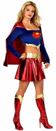 Official Deluxe Ladies Supergirl Superwoman Superhero Fancy Dress Costume Outfit