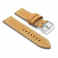 Dassari Bentley Tan Leather Strap W/ White Stitching W/ Matte Steel Pre-v Buckle