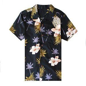 Men-Hawaiian-Shirt-Luau-Aloha-Cruise-Black-Hibiscus-Floral-Pineapple-Palm