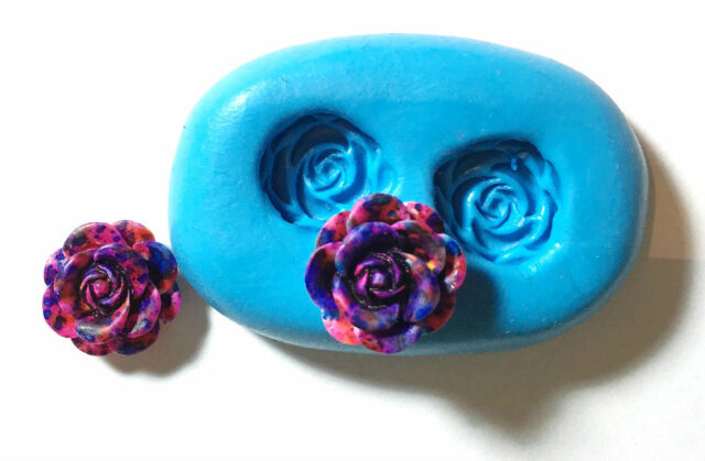flowers Silicone Push Mold Polymer clay Resin Miniature fake food fondant mould