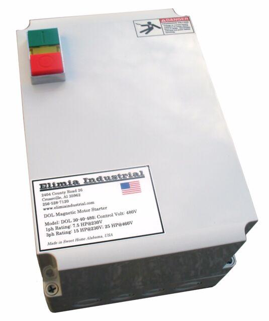 Elimia DOL Motor Starter 460-480V Coil 23-32 Amp 20 HP 3 PH NEMA 4X Waterproof