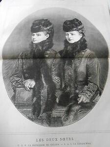 Gravure-1876-Les-Deux-Soeurs-Princesse-de-Galles