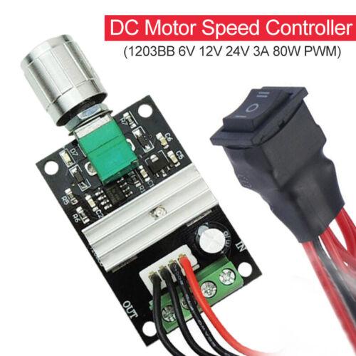 DC 6V 12V 24V 3A 80 W PWM Motor 1203BB Drehzahlregler Speed Steuerung Switch ju