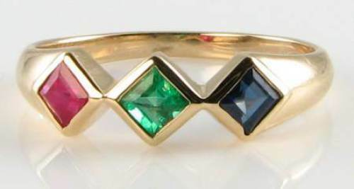 COMBO 9K 9CT gold RUBY EMERALD SAPPHIRE TRILOGY ART DECO INS RING FREE RESIZE
