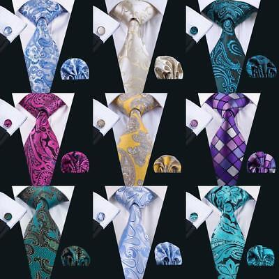 PAISLEY  Mens Silk Tie Set Woven Necktie Pocket Square Cufflinks Wedding Gift