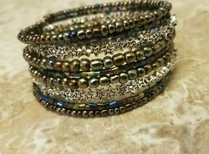 Silver-Star-Galaxy-Colorful-Sparkly-Bracelet-9-Layer-Coil-Glass-Bead-Wrap-Blue