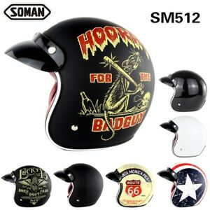 0009d063 Image is loading Soman-512-Motorcycle-Retro-Helmet-Vintage-Motocross-Open-