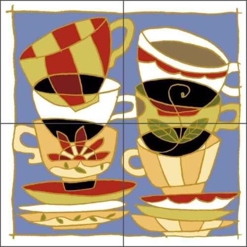 Ceramic Tile Mural Backsplash Covey Coffee Tea Cup Kitchen Art TOC007