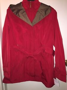 CROFT-amp-BARROW-Women-039-s-Hooded-Trench-Rain-Jacket-034-DEEP-SEA-RED-034-Size-XL-NWT