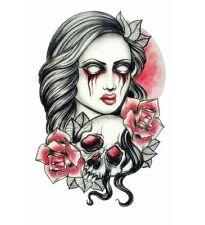 Halloween Lady  Temporary Tattoo Adult Body Art 3D