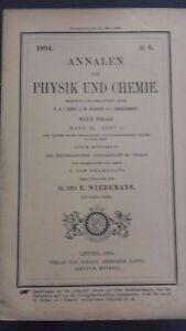 Revista Beiblatter N º 6 Zu Den Annalen Der Physik Y Chemie 1894 Leipzig Verlag