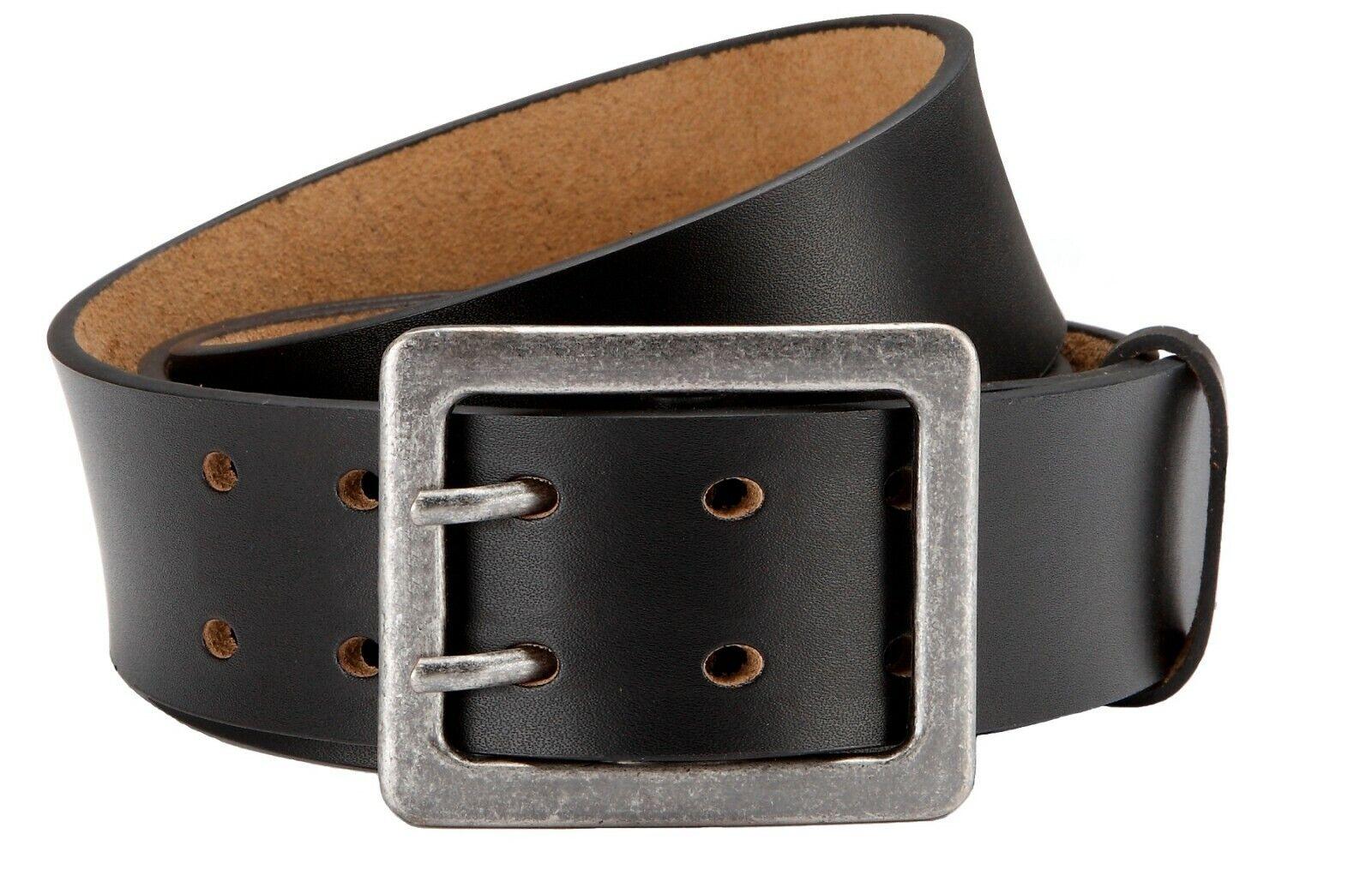 Herren Ledergürtel Schwarz mit Doppeldorn-Schließe   4,5 cm Breite Jeansgürtel