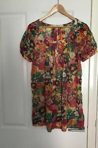 ZARA-FLORAL-BEACH-SHEER-DRESS-HOLIDAY-SIZE-10-12-WORN-ONCE