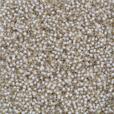 Toho Size 11//0 Seed Beads PermaFinish Silver Lined Frosted Crystal 8.2g Q93//2