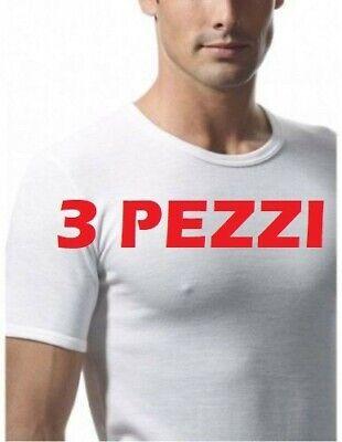 3 Maglia Intima Uomo Mezza Manica Corta Girocollo Ragno Art. 65457 Lana Cotone T