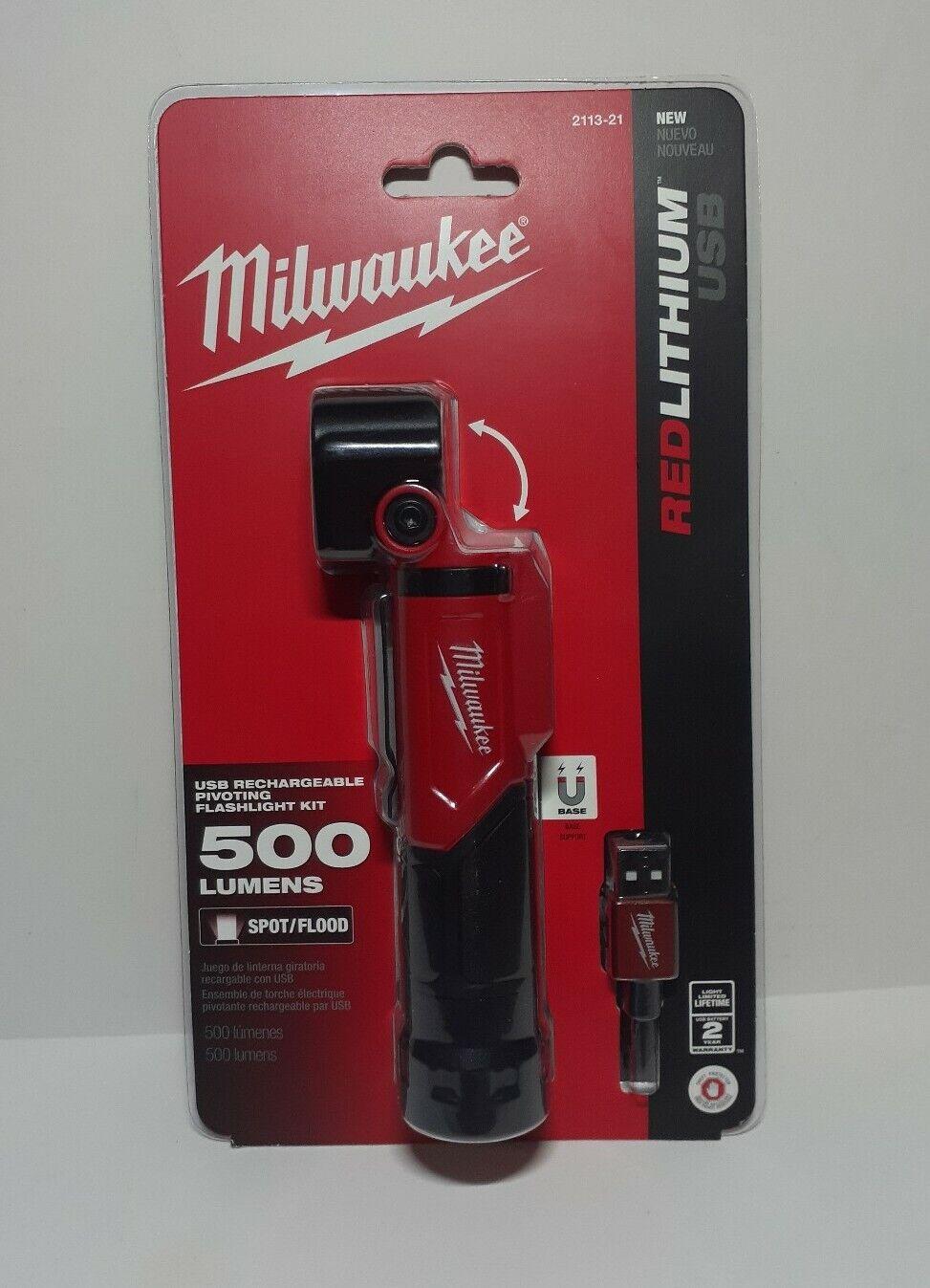 3 Lighting modes #2113-21 Milwaukee USB Rechargeable Pivoting Head LED Light