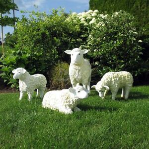 Details Zu 4 Schafe Groß Klein Familie Lamm Deko Garten Tier Figuren Bauernhof Dekoration