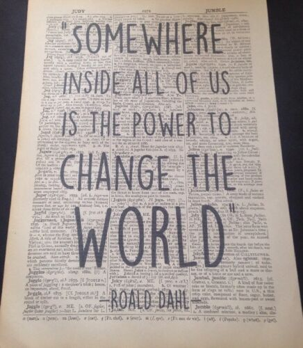 Roald Dahl Quote Print Vintage Dictionary Page Wall Art Picture Power Quirky