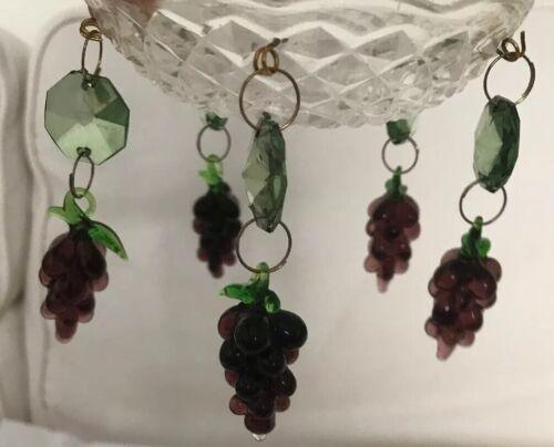 Par De Uvas Bobeches Cristal Roxo Verde Vinho Anel Vela