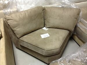 Details about Pottery Barn Buchanan Curved Wedge Sectional sofa Chair  upholstered Wheat Suede