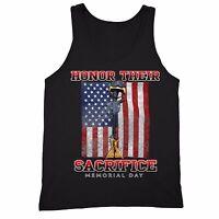 Honor Sacrifice Tank Pow Mia Military Memorial Army American Flag Tanktop Black