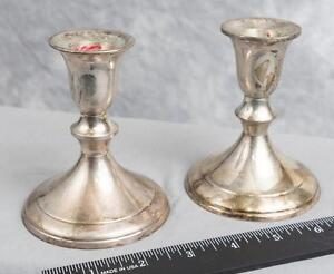 Image is loading Vintage-Pair-of-Silver-Plated-Candlestick-Holders-jds & Vintage Pair of Silver Plated Candlestick Holders jds   eBay