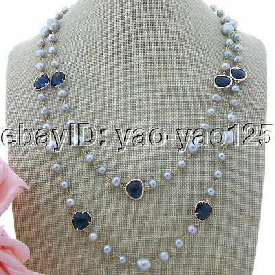 H160103 51''Gray Freshwater Pearl Blue Crystal Necklace