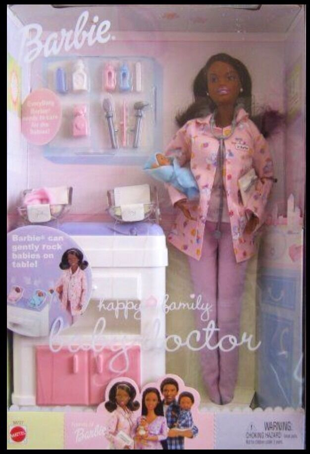 Barbie Familia Feliz Bebé médico African American AA Incluye 2 bebés 2002 Rara