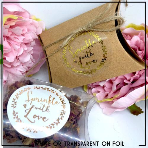 Argent Rose Confettis étiquettesMariage Saupoudrer avec amour des Autocollants Or