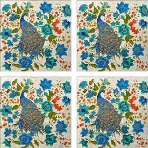 Peacock-Accent-amp-Decor-Tile-Set-MIcheline-Hadjis-Ceramic-Bird-Art-MHA038AT