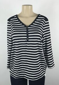 A24-Women-039-s-Charter-Club-Black-White-Striped-3-4-Sleeve-Top-Size-M-NEW