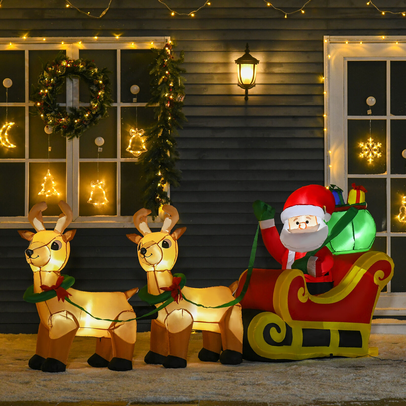 Papá Noel con Renos Trineo Inflable con Luces LED Decoración de Navidad...