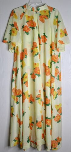 Vintage 60s 70s Mod Yellow Floral Silky Butterfiel