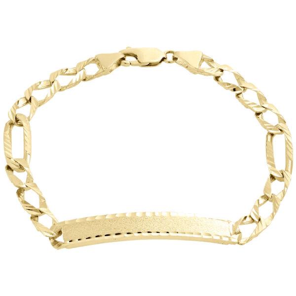 Realistisch Herren 10k Gelbgold Diamantschliff Fiagro Link Fancy Id Armband 7.50mm 21.6cm