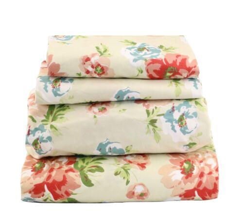 Beautiful Bedding Super Soft  Comfort 4 pcs Sheet Set Blue Red Garden Floral