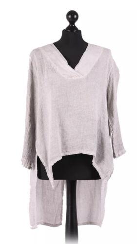 New Italian Lagenlook V Neck Cotton Linen Mix Split Back Asymmetrical Tunic Top