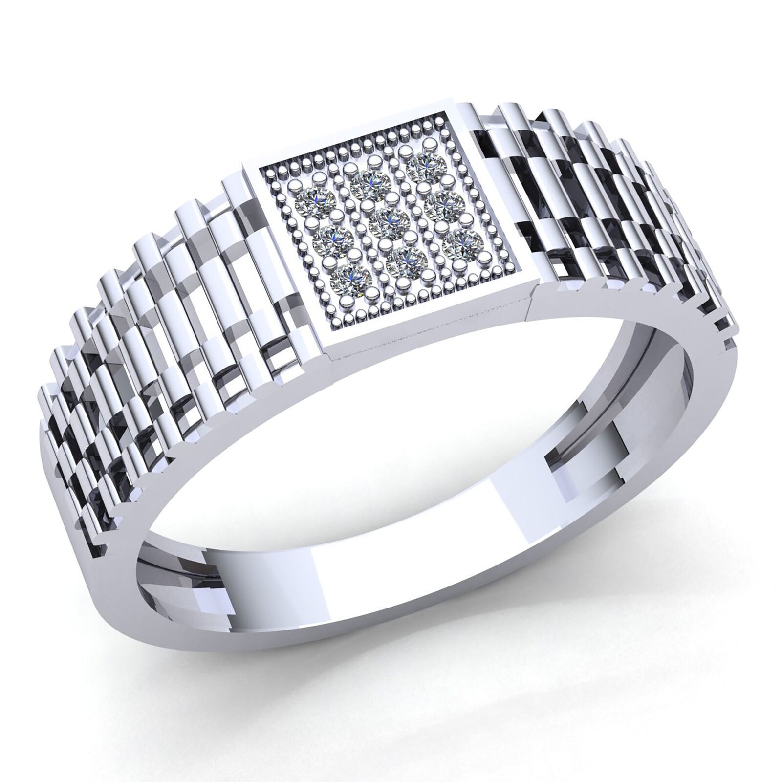 0.1carat Genuine Round Diamond Mens Pinky Engagement Ring 14K gold